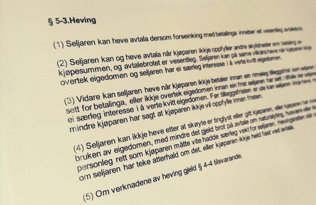Avhendingsloven paragraf 5-3 med lovkommentar
