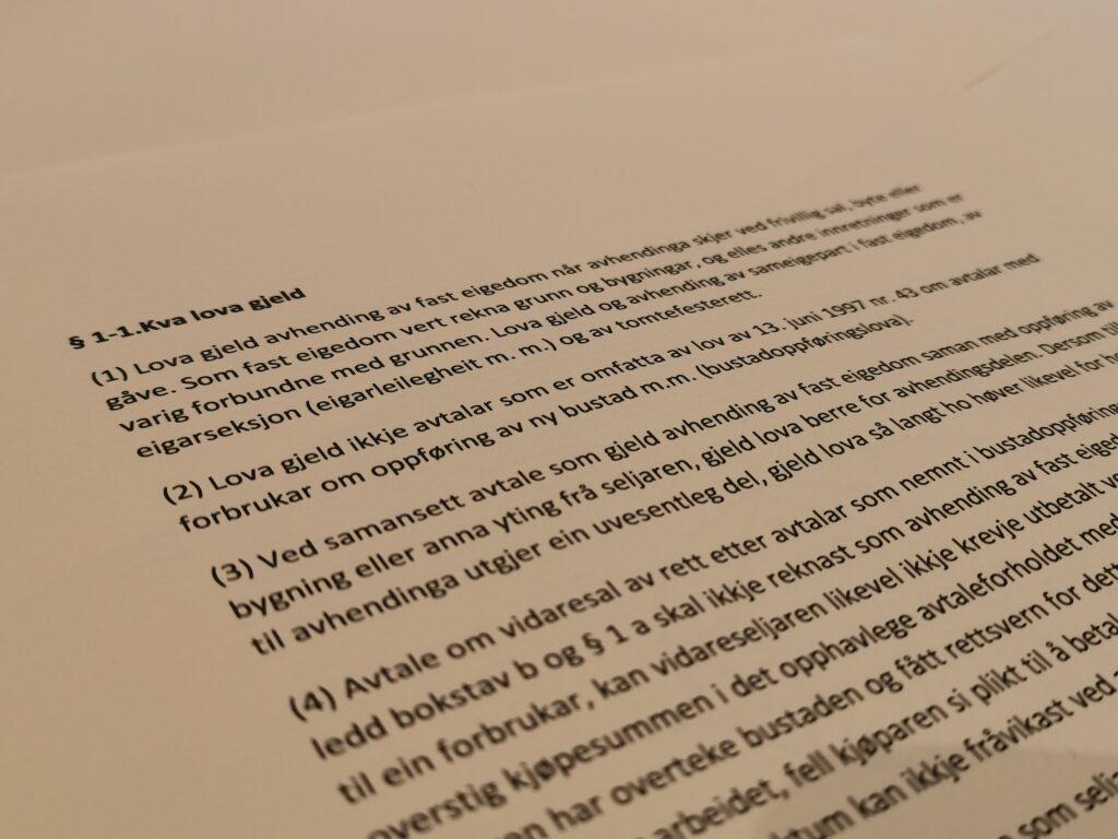 Avhendingsloven paragraf 1-1 med lovkommentar