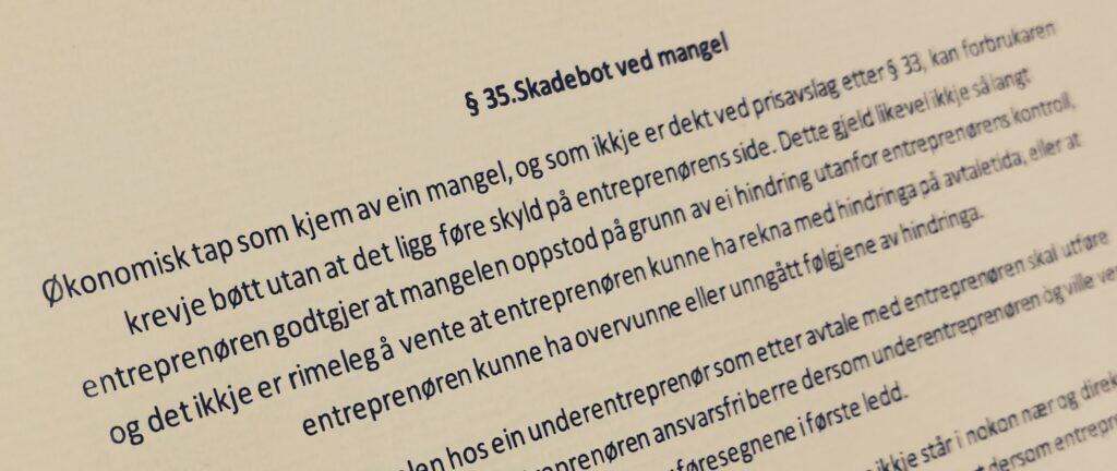 Bustadoppføringslova paragraf 35 med lovkommentar