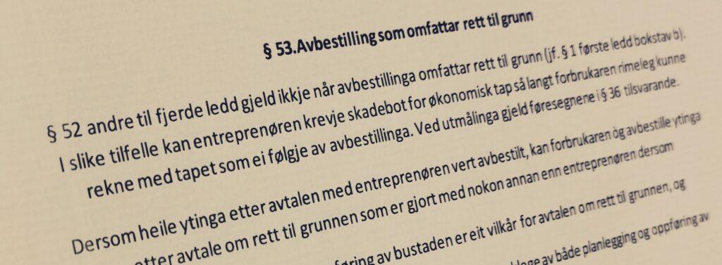Bustadoppføringslova paragraf 53 med lovkommentar