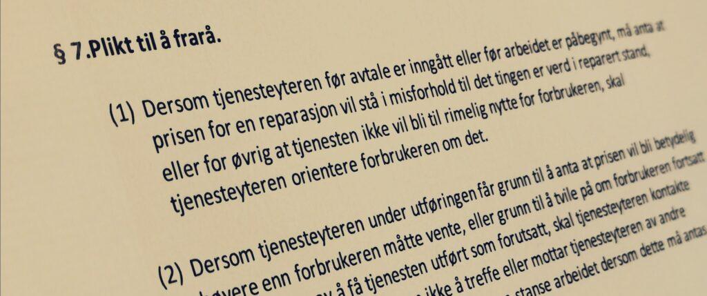 Håndverkertjenesteloven paragraf 7 med lovkommentar