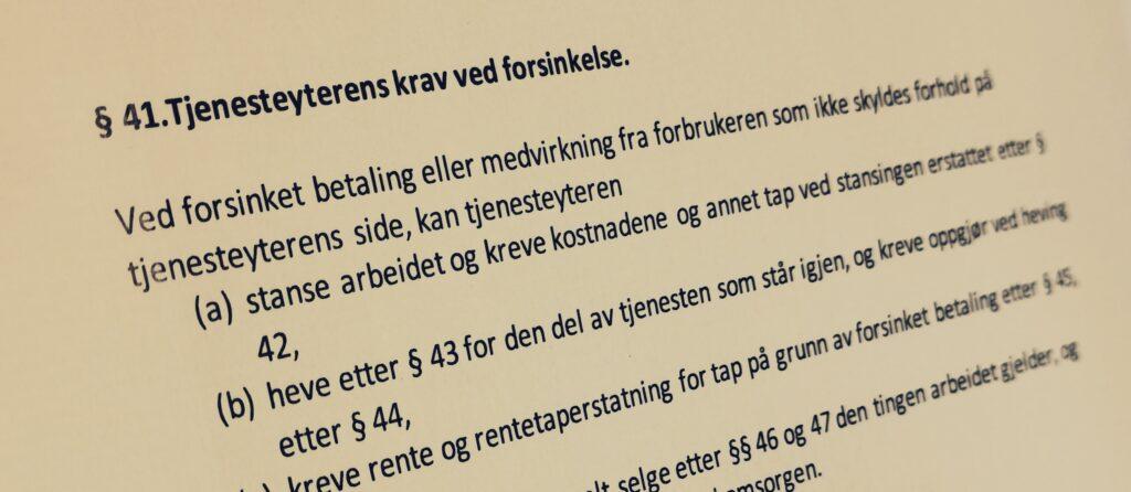 Håndverkertjenesteloven paragraf 41 med lovkommentar