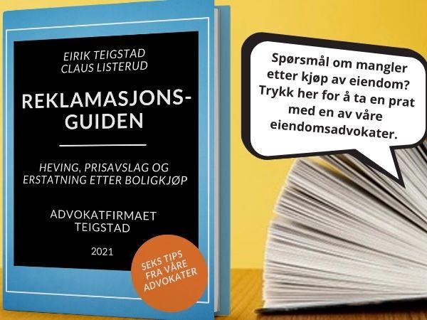 """Bilde av boken """"reklamasjonsguiden"""", om feil og mangler etter boligkjøp, av advokat Eirik Teigstad og advokat Claus Listerud"""